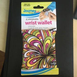 Zippered Wrist Wallet - Floral & Pink Reversible